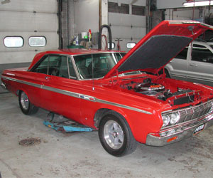 64 Plymouth Fury with a Hemi getting serviced at Van's Garage