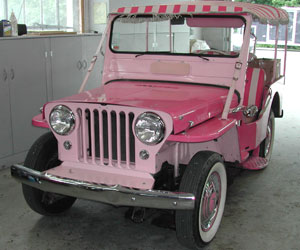 Pink 60 Jeep CJ3 getting it's summer service at Van's Garage